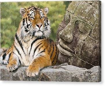 Tiger And Buddha Canvas Print by Kathie Miller