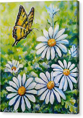Tiger And Daisies  Canvas Print by Gail Butler