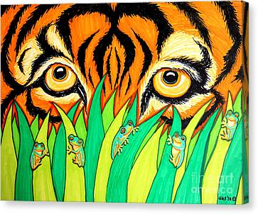 Tiger And Frogs Canvas Print by Nick Gustafson
