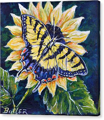 Tiger And Sunflower Canvas Print by Gail Butler
