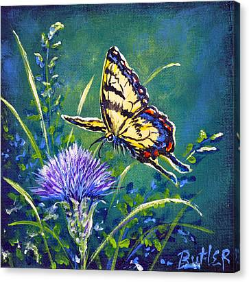 Tiger And Thistle 2 Canvas Print by Gail Butler