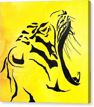 Tiger Animal Decorative Black And Yellow Poster 5 - By Diana Van Canvas Print