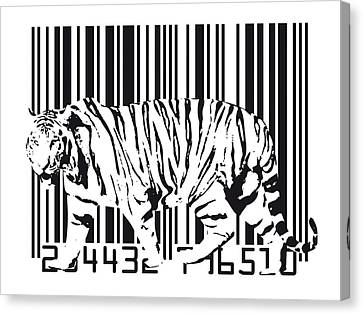 Tiger Barcode Canvas Print by Michael Tompsett