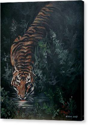 Canvas Print featuring the painting Tiger by Bryan Bustard