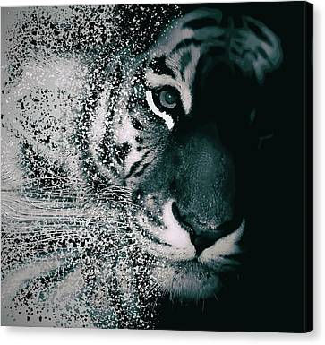 Human Head Canvas Print - Tiger Dispersion by Martin Newman