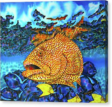 Tiger Grouper And Tang Fish Canvas Print by Daniel Jean-Baptiste
