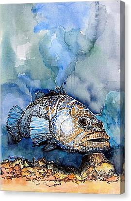 Canvas Print featuring the painting Tiger Grouper by Terry Banderas