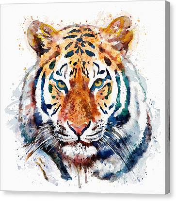 Tiger Head Watercolor Canvas Print by Marian Voicu