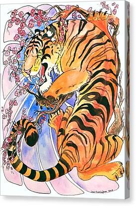 Tiger In Cherries Canvas Print by Jenn Cunningham
