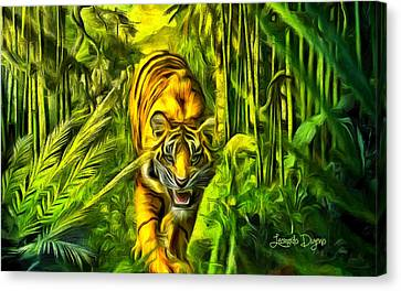 Mascots Canvas Print - Tiger In The Forest - Da by Leonardo Digenio