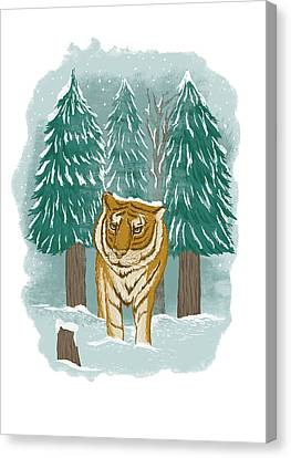 Tiger In The Snow Canvas Print by Anggrahito Pramono