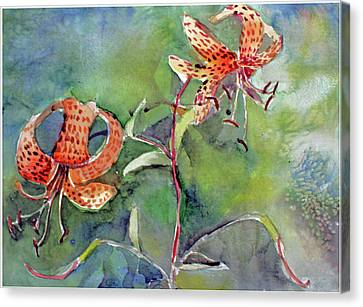 Canvas Print featuring the painting Tiger Lilies by Mindy Newman