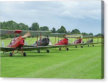 Canvas Print featuring the photograph Tiger Moths Formation Shutdown by Gary Eason