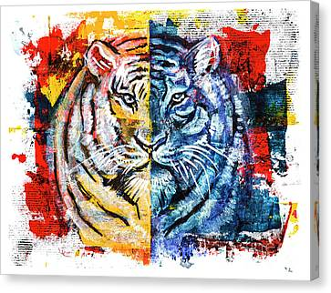 Canvas Print featuring the painting Tiger, Original Acrylic Painting by Ariadna De Raadt