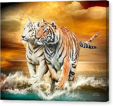Canvas Print featuring the mixed media Tiger Run by Carol Cavalaris