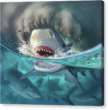 Feeding Canvas Print - Tiger Sharks by Jerry LoFaro