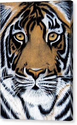 Tiger Tiger Burning Bright Canvas Print by Jan Amiss