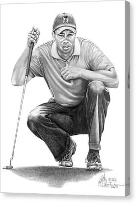 Tiger Woods Crouching Tiger Canvas Print by Murphy Elliott