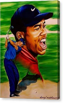 Tiger Woods. Canvas Print by Darryl Matthews