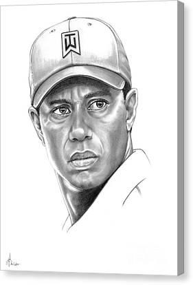 Tiger Woods Canvas Print by Murphy Elliott