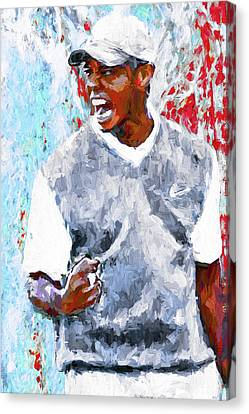 Nike Canvas Print - Tiger Woods One Two Red Painting Digital by David Haskett