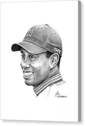 Tiger Woods Smile Canvas Print by Murphy Elliott