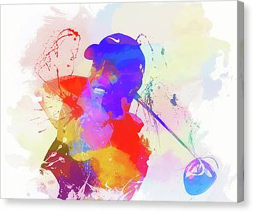 Tiger Woods Watercolor Canvas Print by Dan Sproul