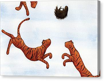 Tigers On A Trampoline Canvas Print by Christy Beckwith