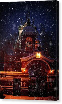 Tikhvin Church Gates. Snowy Days In Moscow Canvas Print by Jenny Rainbow