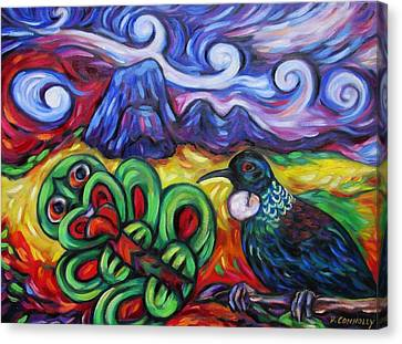 Tiki And Tui Under Mount Taratara Canvas Print by Dianne  Connolly