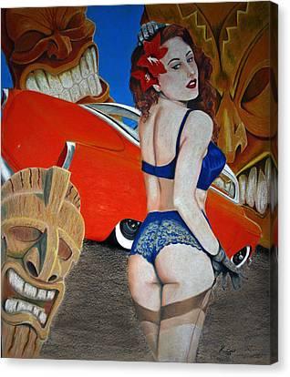 Tiki Canvas Print - Tiki Photo Bomb by Richard Cable