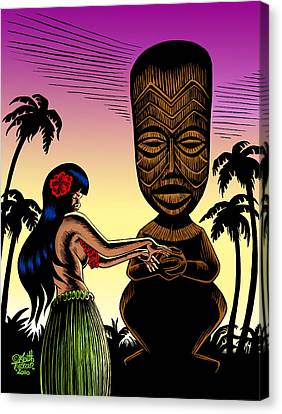 Tiki Sunset Canvas Print by Keith Tucker