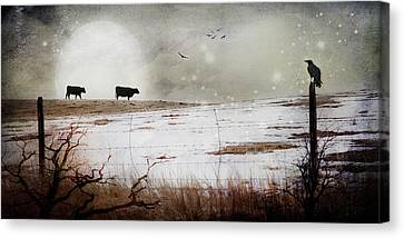 Canvas Print featuring the photograph 'til The Cows Come Home by Theresa Tahara