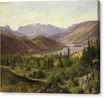 Tile Fjord Canvas Print by Louis Gurlitt