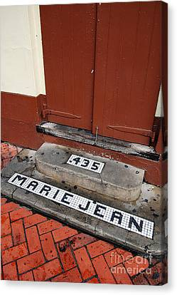 Tile Inlay Steps Marie Jean 435 Wooden Door French Quarter New Orleans Canvas Print by Shawn O'Brien