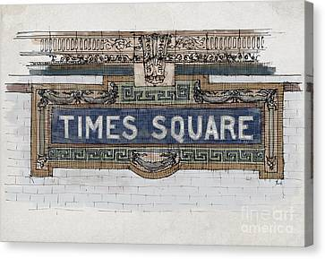 Tile Mosaic Sign, Times Square Subway New York, Handmade Sketch Canvas Print by Pablo Franchi