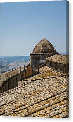 Tile Roof Tops Of Volterra Italy Canvas Print by Edward Fielding