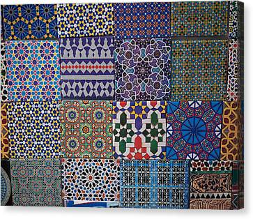 Tiles For Sale In Market, Essaouira Canvas Print by Panoramic Images