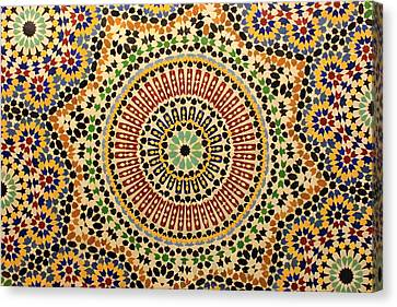 Canvas Print featuring the photograph Tiles Of Fez by Ramona Johnston