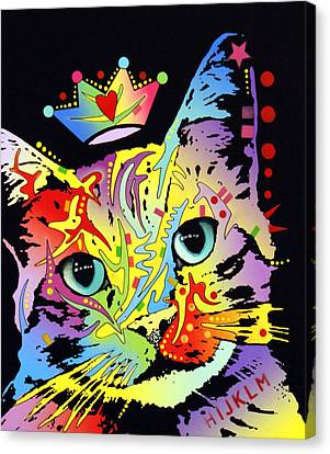 Tilted Cat Crowned Canvas Print by Dean Russo