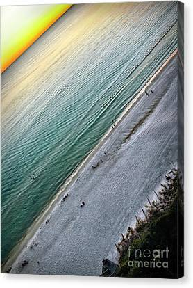 Tilted Rule Of Thirds Beach Sunset Canvas Print by Walt Foegelle