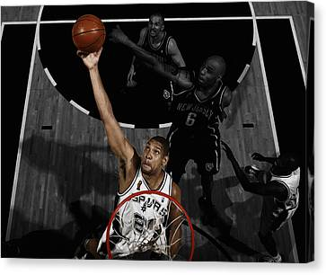 All Star Game Canvas Print - Tim Duncan 5s by Brian Reaves