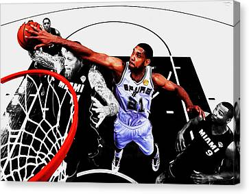 All Star Game Canvas Print - Tim Duncan And The Birdman by Brian Reaves