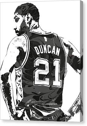 Tim Canvas Print - Tim Duncan San Antonio Spurs Pixel Art 2 by Joe Hamilton