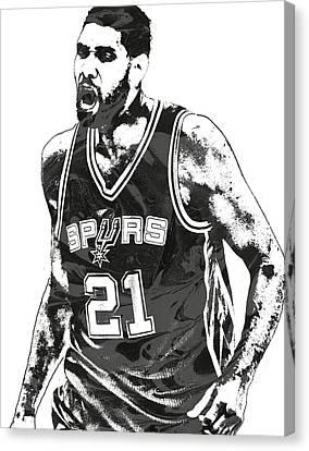 Tim Canvas Print - Tim Duncan San Antonio Spurs Pixel Art 3 by Joe Hamilton
