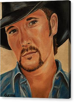Tim Mcgraw Celebrity Painting Canvas Print by Dyanne Parker