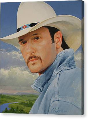 Canvas Print featuring the painting Tim Mcgraw by Cliff Spohn