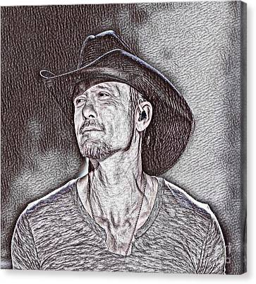 Tim Mcgraw Drawing Canvas Print by Pd