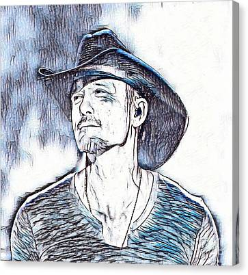 Tim Mcgraw Portrait In Blue Canvas Print by Pd