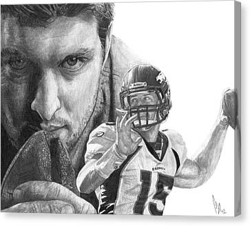 Tebow Canvas Print - Tim Tebow by Bobby Shaw